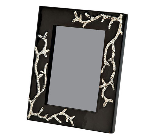 Kouboo - Picture Frame in  Black Lacquerware & Eggshell, 5 x 7 - Looking for a unique way to display your favorite family or nature photos? This handcrafted picture frame, featuring lacquerware with designs crafted using crushed eggshells, always gets a second look. This lacquerware and eggshell picture frame can be showcased alone or grouped with other frames of varying sizes. These one-of-a-kind frames also make perfect gifts.