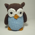 Crocheted Owl Stuffed Animal Toy, Brown and Blue by Nicole's Critters - There really is nothing sweeter than a crocheted stuffed animal that you can perch on a dresser or a bookcase. This owl is too, too cute.