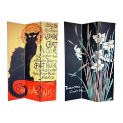 Oriental Unlimited - 6 ft. Tall Double Sided Chat Noir Room Divide - One double-sided divider, both sides shown in image. Bring home the splendor of the Belle Époque with these art deco poster prints from turn of the century Paris. On the front is a famous advertisement by Théophile Alexandre Steinlen, renowned illustrator and feline aficionado from the Montmartre artist community. This classic poster announces the reopening of the Théâtre du Chat Noir (the Black Cat Theatre), featuring a black alley cat with a stylized art deco halo. On the back is another poster for the 'Black Cat' by bohemian artist George Auriol (a frequenter of the cabaret), with tall white Iris flowers over a simple black background. Brighten your living room, bedroom, dining room, or kitchen with the unmistakably classy prints on this versatile room divider. This 3 panel screen has different images on each side. High quality wood and fabric covered room divider. Well constructed, extra durable, kiln dried Spruce wood frame panels, covered top to bottom, front, back and edges. With tough stretched poly-cotton blend canvas. 2 Extra large, beautiful art prints - printed with fade resistant, high color saturation ink, creating 2 stunning, long lasting, vivid images, powerful visual focal points for any room. Amazingly inexpensive, practical, portable, decorative accessory. Almost entirely opaque, double layer of canvas, providing complete privacy. Easily block light from a bedroom window or doorway. Great home decor accent - for dividing a space, redirecting foot traffic, hiding unsightly areas or equipment, or for providing a background for plants or sculptures, or use to define a cozy, attractive spot for table and chairs in a larger room. Assembly required. 15.75 in. W x 70.88 in. H (each panel)