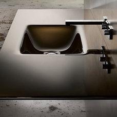 Contemporary Bathroom Sinks Countersink With Rectangular Bowl, Bronze/White Lami