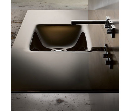 Contemporary Bathroom Sinks Countersink With Rectangular Bowl, Bronze/White Lami
