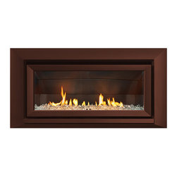 Escea Luxury Fireplaces - ESCEA Indoor Gas Florentine Bronze Fireplace - Velo Front, W/ Fuel Bed, W/ Flue - The ESCEA Indoor gas fireplace with the florentine bronze Velo fascia, is a sleek, contemporary style fireplace. Its low energy consumption makes it efficient and flexible. Compared to similar sized open fire it uses just a third of energy. Running completely silent this extra source of heat makes an ideal addition to any smaller room such as offices, home theaters or bedrooms. The direct vent technology ensures the fireplace will not impact on room air quality.