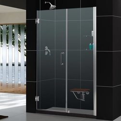 """Dreamline - Unidoor 58 to 59"""" Frameless Hinged Shower Door, Clear 3/8"""" Glass Door - The Unidoor from DreamLine, the only door you need to complete any shower project. The Unidoor swing shower door combines premium 3/8 in. thick tempered glass with a sleek frameless design for the look of a custom glass door at an amazing value. The frameless shower door is easy to install and extremely versatile, available in an incredible range of sizes to accommodate shower openings from 23 in. to 61 in.; Models that fit shower openings wider than 31 in. have an adjustable wall profile which allows for width or out-of-plumb adjustments up to 1 in.; Choose from the many shower door options the Unidoor collection has to offer for your bathroom renovation."""