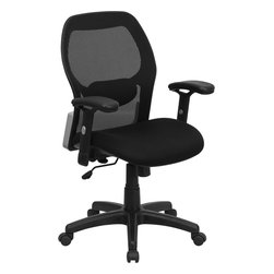 Flash Furniture - Flash Furniture Mid-Back Super Mesh Office Chair with Black Fabric Seat - This value priced mesh office task chair will accommodate your essential needs for your home or office. chair features a breathable mesh back with a comfortably padded seat. The silver accented back adds a touch of flair to highlight your work space. [LF-W42B-GG]