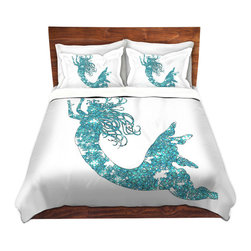 DiaNoche Designs - Duvet Cover Twill by Susie Kunzelman - Mermaid Aqua - Lightweight and soft brushed twill Duvet Cover sizes Twin, Queen, King.  SHAMS NOT INCLUDED.  This duvet is designed to wash upon arrival for maximum softness.   Each duvet starts by looming the fabric and cutting to the size ordered.  The Image is printed and your Duvet Cover is meticulously sewn together with ties in each corner and a concealed zip closure.  All in the USA!!  Poly top with a Cotton Poly underside.  Dye Sublimation printing permanently adheres the ink to the material for long life and durability. Printed top, cream colored bottom, Machine Washable, Product may vary slightly from image.