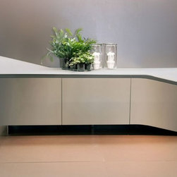 Clio Sideboard - Sideboard, wood or lacquered wooden frame, doors provided with blumotion system.Curved glass top, clear tempered glass inside shelves.