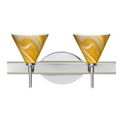 Besa Lighting - Besa Lighting 2SW-5121HN Kani 2 Light Reversible Halogen Bathroom Vanity Light - The Kani pendant features a compact cone-shaped glass, that will gracefully blend into almost any decorating theme. This unique decor is handcrafted, with layered swirls of yellow-amber and golden-brown against white, finished to a high gloss. It's classic swirl pattern and high gloss surface has a truly florid gleam. Honey is a hand-blown glass designed to have a shiny and polished finish. The glass is gathered and rolled into shape a unique pattern is formed that cannot be replicated. This blown glass is handcrafted by a skilled artisan, utilizing century-old techniques passed down from generation to generation. Each piece of this decor has its own unique artistic nature that can be individually appreciated. The vanity fixture is equipped with decorative lamp holders, removable finials, linear rectangular housing, and a removable low profile oval canopy cover.Features: