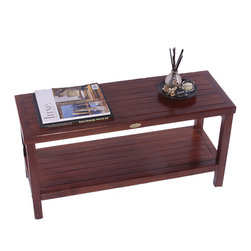 DecoTeak - Classic 35 in. Teak Spa Shower Bench w Shelf - Made from plantation grown sustainably harvested solid teak that is naturally water, and mildew resistant.. armless bench. included storage shelf. Standard leg levelers for uneven floors and slopes.  Attractive spa pattern. Galvanized stainless steel corrosion resistant hardware. Indoor outdoor deep penetrating stain for water, mold, mildew, fungus, and sunlight resistance.. 30 day satisfaction guaranteeUse in the shower, bathroom, or outdoors. Stain:  Deco Teak deep penetrating indoor outdoor golden brown. Assembly Required. 35 in. L x 18 in. H x 13 in. D (23 lbs.)