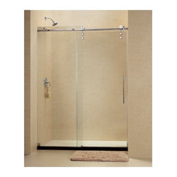 "DreamLine - DreamLine SHDR-6248760-07 Enigma-Z Shower Door - DreamLine Enigma-Z 44 to 48"" Fully Frameless Sliding Shower Door, Clear 3/8"" Glass Door, Brushed Stainless Steel Finish"