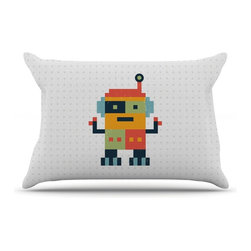"Kess InHouse - Daisy Beatrice ""Happy Robot"" Multicolor Pillow Case, King (36"" x 20"") - This pillowcase, is just as bunny soft as the Kess InHouse duvet. It's made of microfiber velvety fleece. This machine washable fleece pillow case is the perfect accent to any duvet. Be your Bed's Curator."