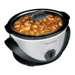 Hamilton Beach - Slow Cooker 4 Qt. With Clamp - From Hamilton Beach , this Slow Cooker has a removable stoneware crock and both the crock and the lid are dishwasher safe for fast, easy cleanup. Four settings: Low, High, Keep Warm and Off. Recipes are included.