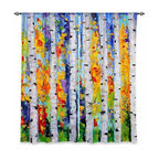 "DiaNoche Designs - Window Curtains Lined by Karen Tarlton Birch Trees - Purchasing window curtains just got easier and better! Create a designer look to any of your living spaces with our decorative and unique ""Lined Window Curtains."" Perfect for the living room, dining room or bedroom, these artistic curtains are an easy and inexpensive way to add color and style when decorating your home.  This is a woven poly material that filters outside light and creates a privacy barrier.  Each package includes two easy-to-hang, 3 inch diameter pole-pocket curtain panels.  The width listed is the total measurement of the two panels.  Curtain rod sold separately. Easy care, machine wash cold, tumble dry low, iron low if needed.  Printed in the USA."