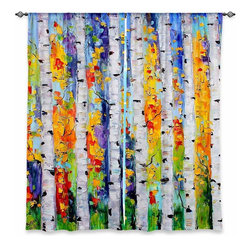 "DiaNoche Designs - Window Curtains Lined by Karen Tarlton Birch Trees - DiaNoche Designs works with artists from around the world to print their stunning works to many unique home decor items.  Purchasing window curtains just got easier and better! Create a designer look to any of your living spaces with our decorative and unique ""Lined Window Curtains."" Perfect for the living room, dining room or bedroom, these artistic curtains are an easy and inexpensive way to add color and style when decorating your home.  This is a woven poly material that filters outside light and creates a privacy barrier.  Each package includes two easy-to-hang, 3 inch diameter pole-pocket curtain panels.  The width listed is the total measurement of the two panels.  Curtain rod sold separately. Easy care, machine wash cold, tumble dry low, iron low if needed.  Printed in the USA."