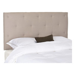 Safavieh - Safavieh Martin Beige Queen Headboard X-A0364RCM - The Martin Queen headboard will give you the decorator look of a custom piece with glamorous button tufting for extra richness.