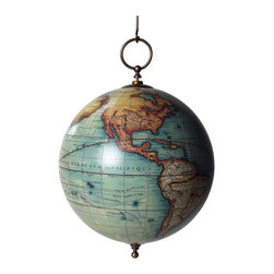 """Authentic Models - Vaugondy Hanging Globe - A painstakingly accurate reproduction of an 18th century Vaugondy map, this hanging globe is created using copies of original paper gores to create a piece of history you can proudly display! Gift boxed in a attractive box, this hanging globe can make a great gift for a world traveler or historic person. Made of paper, plastic and brass; multi colors and bronze, this will surely complete your  home decor for you! 12 1/2"""" Diameter x 18 1/2"""" Height."""