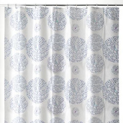 Splash Home - Mozaik 70-Inch x 72-Inch Shower Curtain in Blue - The exquisite tiny-tile pattern on this shower shower curtain will help create a peaceful, refreshing space in your bathroom. Made of 100% PEVA. Hooks not included. Wipe clean with a damp cloth. One-year manufacturer's warranty. Imported.