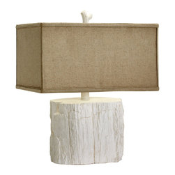 Cyan Design - Cyan Design Simon Table Lamp - Faux Bois BeautyLet your design go with the flow. Cyan Design's Simon Table Lamp has natural, organic appeal for casually cool spaces. It's perfect for a coastal cottage or a laid-back eclectic home. Pair it with other pure-white accents for a contemporary look, or add it into a beachy mix with shells and bleached woods. The faux-bois design and raw cotton shade are great rustic touches. Light up your carefree style with this chic piece from Cyan Design.Plaster base with white finishRaw cotton shade with white liner (included)Fits one 100-watt medium bulb (not included)10-foot-long plugin cord with dimmerOn/off switch on the socketMade in China