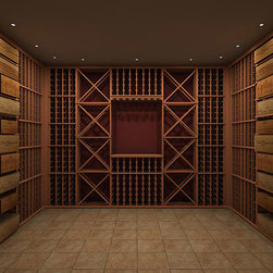Wine Cellar Innovations - Silver Series Custom Wine Cellar - This custom wine cellar quote & design has been provided to give a basic guideline for outfitting a 12 ft x 10ft room.This custom wine cellar was designed using Premium Redwood. The pricing listed is the MSRP for all of the wine racking. It does not include the lighting, ceiling, flooring, or the installation of the actual product, which are all available from us. Please inquire for those additional costs. It also does not include tax or shipping. Please call for a custom shipping quote based on your delivery location. We have provided a sample floor plan and color rendering of a sample custom wine cellar so that you can get a good visual understanding of the space as it is priced. Wine Cellar Innovations can provide you with a wide variety of options for your space based on the selection of racking series, wood type, and finish that is best for your application. Please contact us today for a custom quote for your space : http://store.winecellarinnovations.com/OnlineForm.aspx