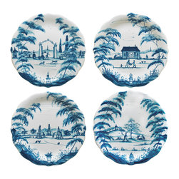Country Estate Delft Blue Party Plates Set - Delightful themed genre scenes framed by gracefully-rendered trees look to the tradition of Chinese blue and white porcelain for inspiration, but the Country Estate Party Plates Set in Delft Blue suits any world of decorative accents with its timeless adornment.  Lightly scalloped edges give grace to this quartet of plates, which are ideal for decorative use, as appetizer plates, and as pretty catch-alls.