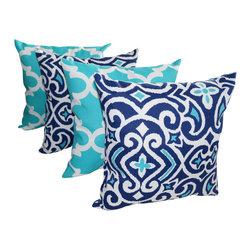 Land of Pillows - Damask Marine Navy and Fynn Ocean Quatrefoil Outdoor Throw Pillows - 4 pack, 16x - Fabric Designer - Premier Prints