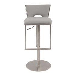 "Chintaly Imports - Chrome/Grey Low Back Upholstered Pneumatic Gas Lift Adjustable Height Stool - This is a pneumatic gas lift adjustable height stool. It comes in a brushed stainless steel finish, with Grey upholstered seat. The height adjusts from counter stool height of 23"" up to the bar stool height of 32""."