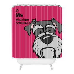 DENY Designs - Angry Squirrel Studio Miniature Schnauzer 39 Shower Curtain - Who says bathrooms can't be fun? To get the most bang for your buck, start with an artistic, inventive shower curtain. We've got endless options that will really make your bathroom pop. Heck, your guests may start spending a little extra time in there because of it!