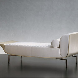 Giorgetti - Giorgetti YFI Chaise Lounge - A day bed with a structure in profiled steel sunk in cold expanded polyurethane foam.  Seat cushions, backrest and arms in different density non-deformable expanded polyurethane foam with fiber covering.  Feather lumbar cushion.  Brushed nickel steel feet with black nylon tips.  External upholstery of fixed structure is available in leather only.  Internal cushions are in removable fabric or leather.  The seat covering is composed of long quilted strips with fiber padding.  Quilting can only be applied to appropriate fabrics and leathers.  Dry cleaning advisable.  An accessory headrest is available for an upcharge.  Price includes shipping to the USA.  Manufactured by Giorgetti.Designed in 2008.