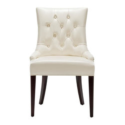 Safavieh - Burbank Burbank Amanda Chair - A buttoned-up elegance infuses the flat cream leather upholstered Burbank Amanda Chair. A high back, curved rear legs and modest sloped arms produce a sophisticated profile at home in formal settings. Legs are in a cherry mahogany finish.
