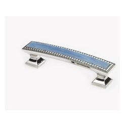Windborne Studios - Classico Polished Nickel Pull, Glacier - The Classico Collection is a metal and glass decorative hardware line Where Elegance and Expression Meet.Elegant design embraces a splash of colorful expression. This collection is new to the industry and significantly different than anything you have seen before.