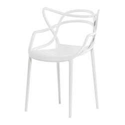 Kartell - Masters Chair, Set of 2, White - This iconic chair draws its inspiration from three contemporary designs: the 7 Series by Arne Jacobsen, the Tulip Armchair by Eero Saarinen and the Eiffel Chair by Charles Eames. The result is a sinuous hybrid that's suited to any space, characterized by crisscrossing lines of three different backs that meet up again at the seat. Set on slim legs, it's light, practical and comfortable, yet surprisingly sturdy. You'll love using it both indoors and out.