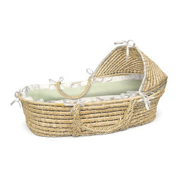 Badger Basket - Natural Hooded Moses Basket - White/Sage Gingham Bedding - This pretty Hooded Moses Basket creates a space for Baby anywhere in the house! A safe place for your baby to sleep at home or when visiting friends. Keep Baby close by wherever you are! Soft liner is made with sweet White/Sage Gingham 80% polyester 20% cotton fabric with a white ruffle trim. Soft polyester fill pads the bumper for comfort. Liner is removable and can be machine washed and tumbled dry. Includes a foam mattress pad and a sheet. Basket can be used until baby is approximately 15 lbs. (6.8 kg) or until baby can push up or roll over unassisted.