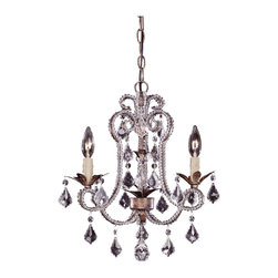 3 Light Mini Chandelier - Un Petit Antique for your home! Burnished Gold Finish with Clear Crystals and Cream Drip Candle Covers.