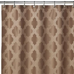 Westport Home Fashions - Tangiers 72-Inch x 72-Inch Shower Curtain in Mocha - This shower curtain features a fashionable moroccan influenced woven jacquard design on polyester. A pleasant and sophisticated motif, this shower curtain is a classy addition to any bathroom decor.