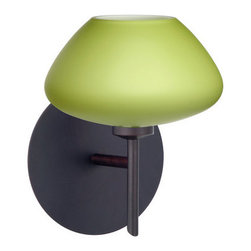 BESA Lighting - BESA Lighting 1SW-541035 Peri 1 Light Halogen Bathroom Sconce - The Peri is a compact handcrafted glass, softly radiused to fit gracefully into contemporary spaces. Our Lime glass is a chartreuse colored glass with an opal inner layer. The yellow-green glow has a low key harmonious display that exudes a warm mood. When lit the glass is vitalizing as well as stylish. The smooth satin finish on the outer layer is a result of an extensive etching process. This blown glass is handcrafted by a skilled artisan, utilizing century-old techniques passed down from generation to generation. The mini sconce is equipped with a decorative lamp holder mounted to either a low profile round or square canopy.Features: