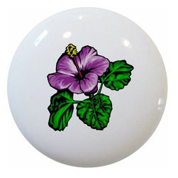Carolina Hardware and Decor, LLC - Purple Hibiscus Floral Ceramic Knob - New 1 1/2 inch ceramic cabinet, drawer, or furniture knob with mounting hardware included. Also works great in a bathroom or on bi-fold closet doors (may require longer screws). Item can be wiped clean with a soft damp cloth. Great addition and nice finishing touch to any room!