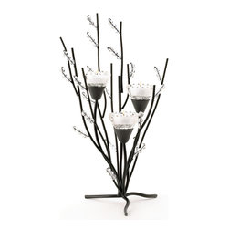 KOOLEKOO - Crystal Tree Tealight Candleholder - Curving black boughs and crystalline berries create an enchanting sparkling display; a trio of tealights placed in the cup-shaped blooms turns this tree into a show of pure splendor!