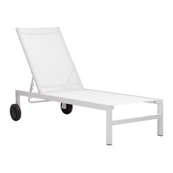 "Zuo - Zuo Castle Peak White Outdoor Lounge Chair - Relax in style in this white outdoor lounge chair. Frame is made of silver finish aluminum. The cover is a polyester fiber fabric that withstands UV rays and water. Wheels on the back for easy movement. From Zuo. 61"" wide. 24 1/2"" deep. 42"" high.  Relax in style in this white outdoor lounge chair.   Frame is made of silver finish aluminum.   The cover is a polyester fiber fabric that withstands UV rays and water.   Wheels on the back for easy movement.   From Zuo.  61"" wide.    24 1/2"" deep.   42"" high."