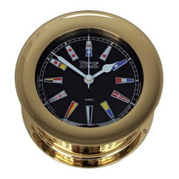 """Weems & Plath Atlantis Quartz Clock Black Flag Dial - The weems  plath atlantis quartz clock black flag dial measures 4"""" dial x 5.5"""" base x 2.75"""" depth. The face of the clock is black with colorful nautical flags for the numbers. The front-opening screw bezel case is constructed of solid, forged brass with a coat of lacquer to ensure a lasting shine. Several wood bases are available for this clock. It comes with complete instructions and mounting hardware. It carries a limited lifetime warranty  comes with a fresh battery."""
