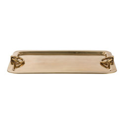 Arteriors Home - Bordeaux Tray - Bordeaux Tray is made of plated steel in Polished Nickel or Antique Brass with ring handles. Can be used as functionally as a serving piece or as a decorative statement piece. Available in two sizes. Small: 17 inch width x 11 inch depth x 2 inch height. Large: 23.5 inch width x 17.25 inch depth x 2 inch height.