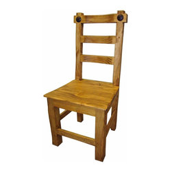 Hacienda Mexican Pine Dining Chair - Big, Heavy Solid wood construction makes this Rustic design a hit with many decors. This chair is made to last with twice the wood of most rustic pine chairs. Chairs are sold in pairs Only. Price is per chair.