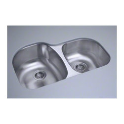 """STERLING PLUMBING - STERLING Cinch(R) Undercounter 31.5"""" x 20.5"""" x 9"""" Offset Sink - A high/low sink offers the best of all worlds. A deep side for large items and a shallow side for small items. Coupled with the durability and beauty of stainless steel, this sink is sure to please."""