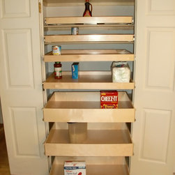 Closet & Walk-In Pantry Roll Out Shelves - Organize your pantry to increase efficiency through better visibility and accessibility.  ShelfGenie of Massachusetts pull out shelves and accessories are all custom made to fit your existing cabinets and closets.