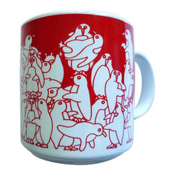 Taylor and Ng - Animates Red Nitetime Penguins Mug - Red nighttime Animates Penguins on a White 11 oz Ceramic mug. Dishwasher and microwave safe. Animates Mugs collection. Stackable for easy storage. 3.25 in. L x 3.25 in. W x 3.5 in. H