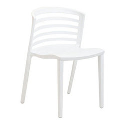 "LexMod - Curvy Dining Side Chair in White - Curvy Dining Side Chair in White - Indulge in no-frills, straightforward contemporary style with this modern multi-purpose chair. Made from heavy-duty molded plastic this chair was built to last. Eye catching and comfortable, this reproduction brings fashion and flavor to your space. Set Includes: One - Curvy Plastic Chair Durable Molded Plastic, Easy to Clean, Fully assembled Overall Product Dimensions: 21""L x 19.5""W x 30""H Seat Height: 17""H - Mid Century Modern Furniture."