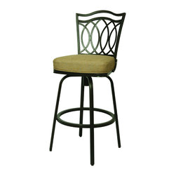 None - West Port 30-inch Outdoor Bar Stool - Add contemporary flair to your outdoor seating with this 30-inch outdoor bar stool from West Port. This stool features an aluminum frame with back and a padded seat made from Sunbrella fabric promising stain, mildew, and fade resistance.