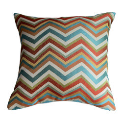 KH Window Fashions, Inc. - Chevron Pillow Cover in Spice-  Red, Green and Ivory, With Insert - Red, green, ivory, blue chevron pillow. Perfect to toss on your bed or sofa.