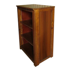 Kelseys Collection - Book cabinet 3 shelf wood grain finish - Book cabinet in solid radiata pine features three adjustable storage shelves with two wood grain prints on the side panels, rather than our usual giclee prints. . Dimensions are 33BY22BY12 Net weight 20 pounds. Three adjustable shelves. Estimated assembly time 20 minutes. This particular model has a wood grain print on the panel.  It looks just like real wood and blends well with the rich finish of the pine frame and top.  Made out of solid wood, not particle board.