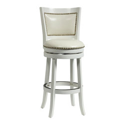 "Boraam - Boraam 29"" Bristol Swivel Stool in White - Boraam - Bar Stools - 42429 -The Bristol Swivel Counter Stool by Boraam Industries is composed of solid hardwood and engineered to perfection. The seat and back of this counter chair are padded with high density foam and upholstered in bonded leather with decorative nail head trim. Each leg of this pub height chair has a strategic flare design that provides durability and balance to those who sit. Additionally, the steel swivel plate features full ball bearing designs for an effortless 360-degree turn! A metal kick plate over the entire footrest protects against scuffs."
