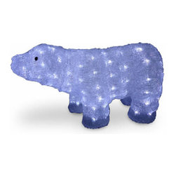11 In. Acrylic Bear Christmas Decoration with 100 LED Lights - Measures 11 inch high. Pre-lit with 100 UL listed cool white LED lights. Low voltage LED bulbs are energy-efficient, long lasting and cool to the touch. For indoor or outdoor use. Packed in reusable storage carton.