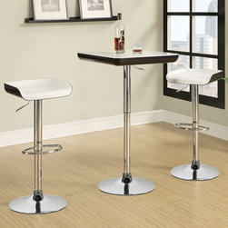 "Coaster - 3 Piece Bar Table Set, White/Black - This simple and chic 3-piece bar set features an adjustable table (36.00-41.00"") and two adjustable bar stools (25.00-33.50"") in a modern black and white color scheme. Each piece has a sturdy chrome base and a footrest.; Contemporary Style; Finish/Color: White/black; Dimensions: Bar Table: 23.50""L x 23.50""W x 36""-41""H; Bar Stool: 16""L x 15""W x 25""-33.50""H"